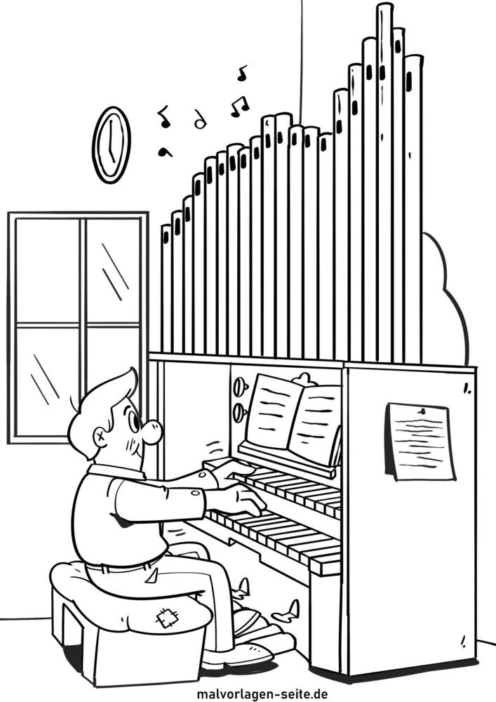 malvorlage kirchenorgel musikinstrument  kirche