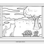 Страница за оцветяване летен изглед от прозореца