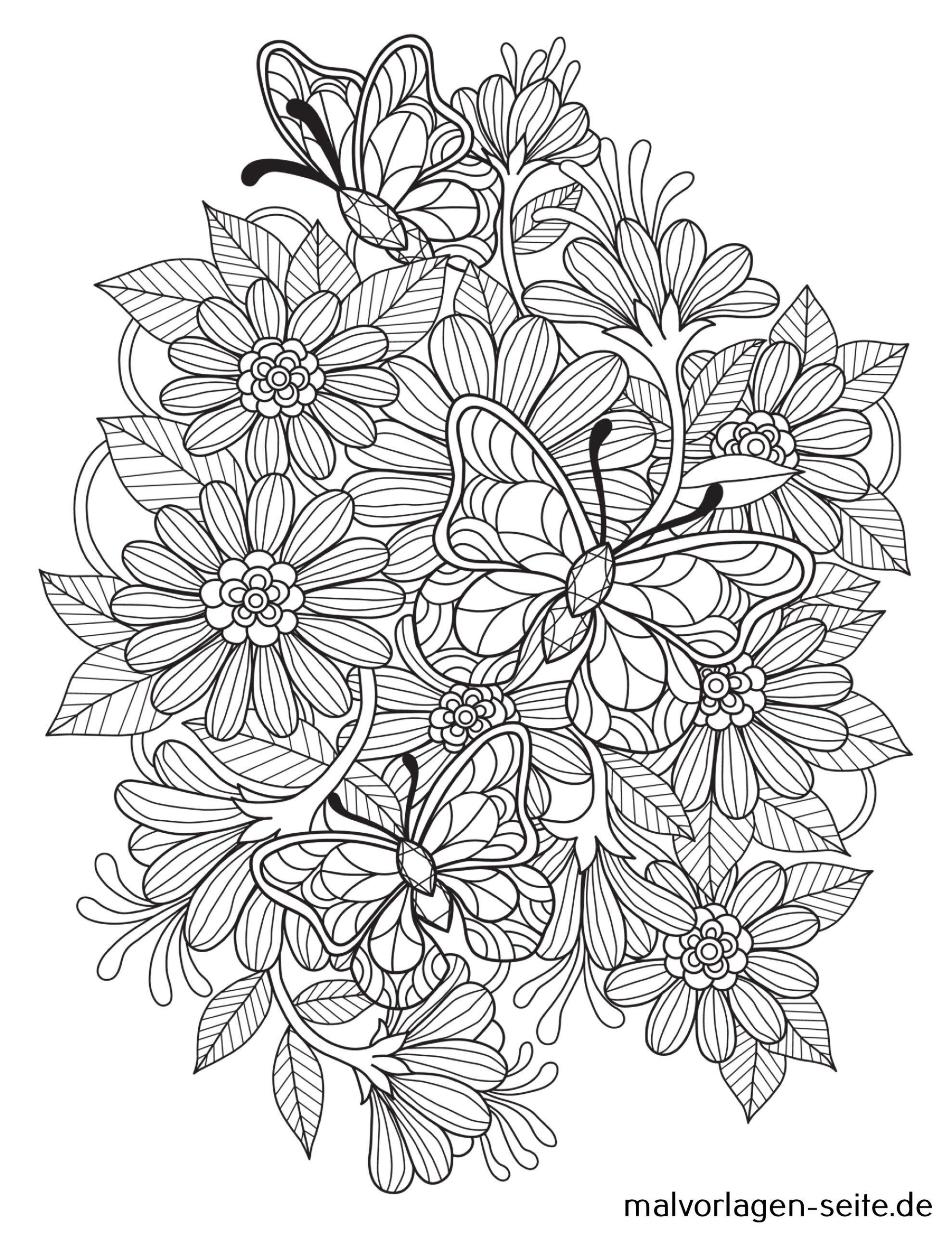 Tolle Mandala Für Erwachsene - Blüten Mit Schmetterling