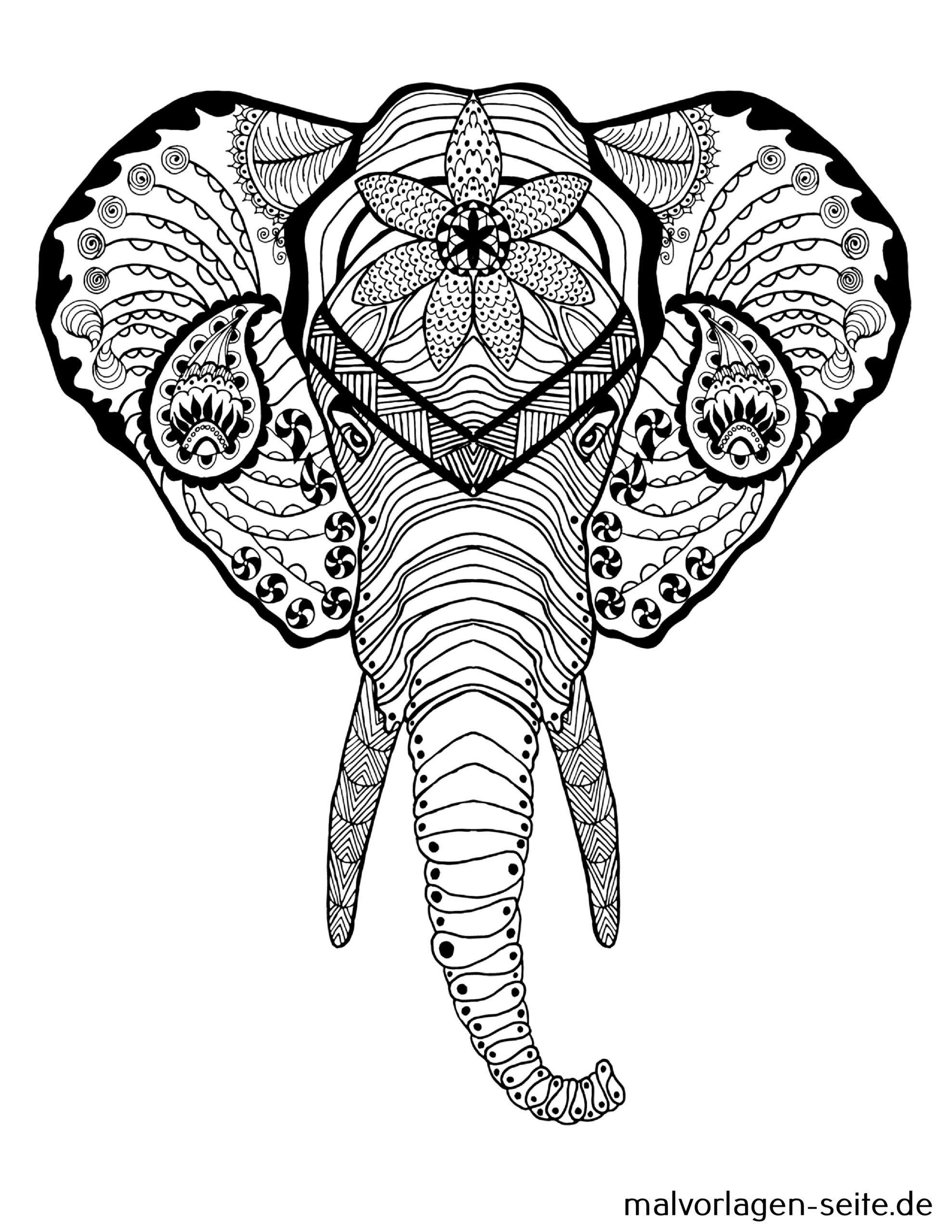 Tolle Mandala Für Erwachsene - Elefant - Kostenlose Ausmalbilder