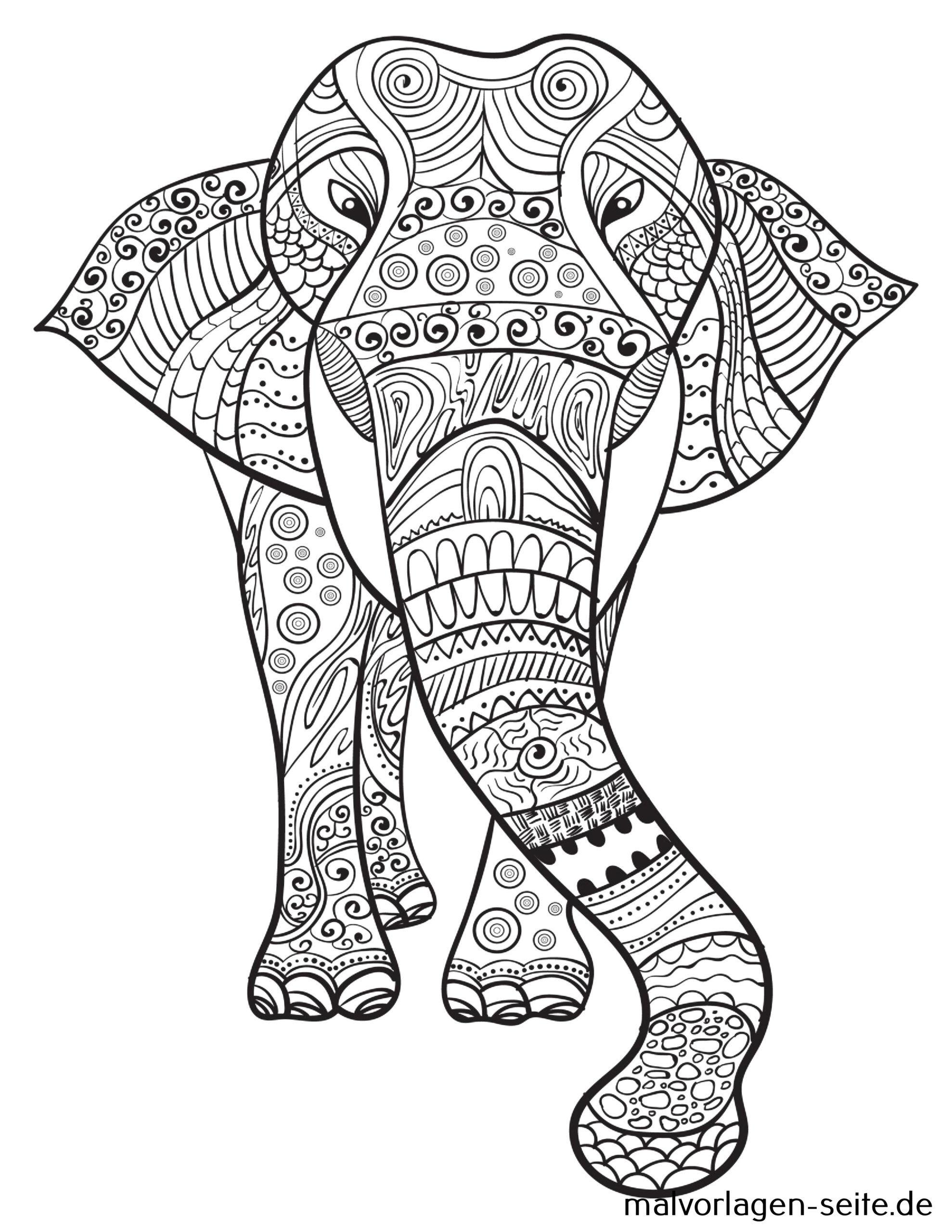 Tolle Mandala Erwachsene - Elefant - Kostenlose Ausmalbilder