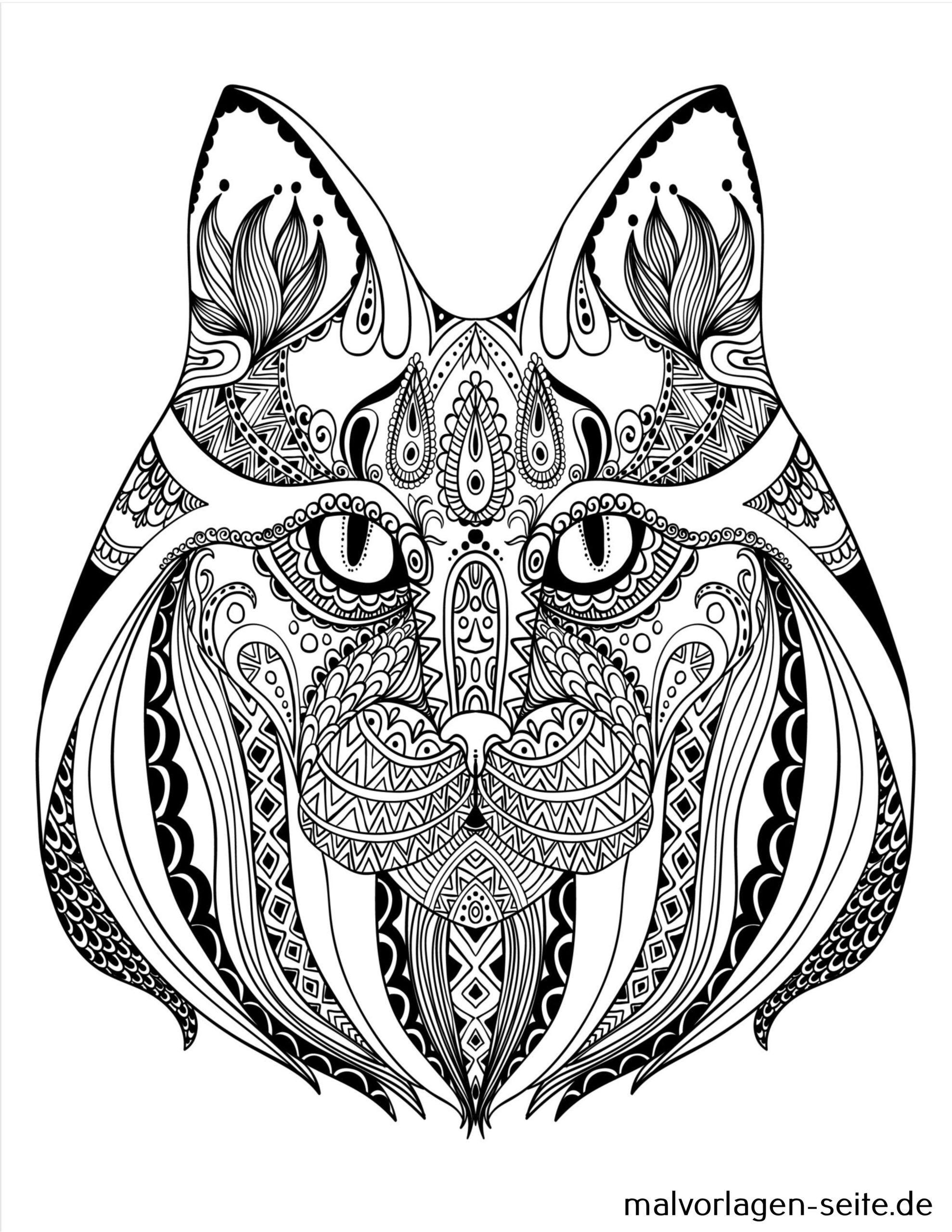 mandala für erwachsene  katze  kostenlose ausmalbilder