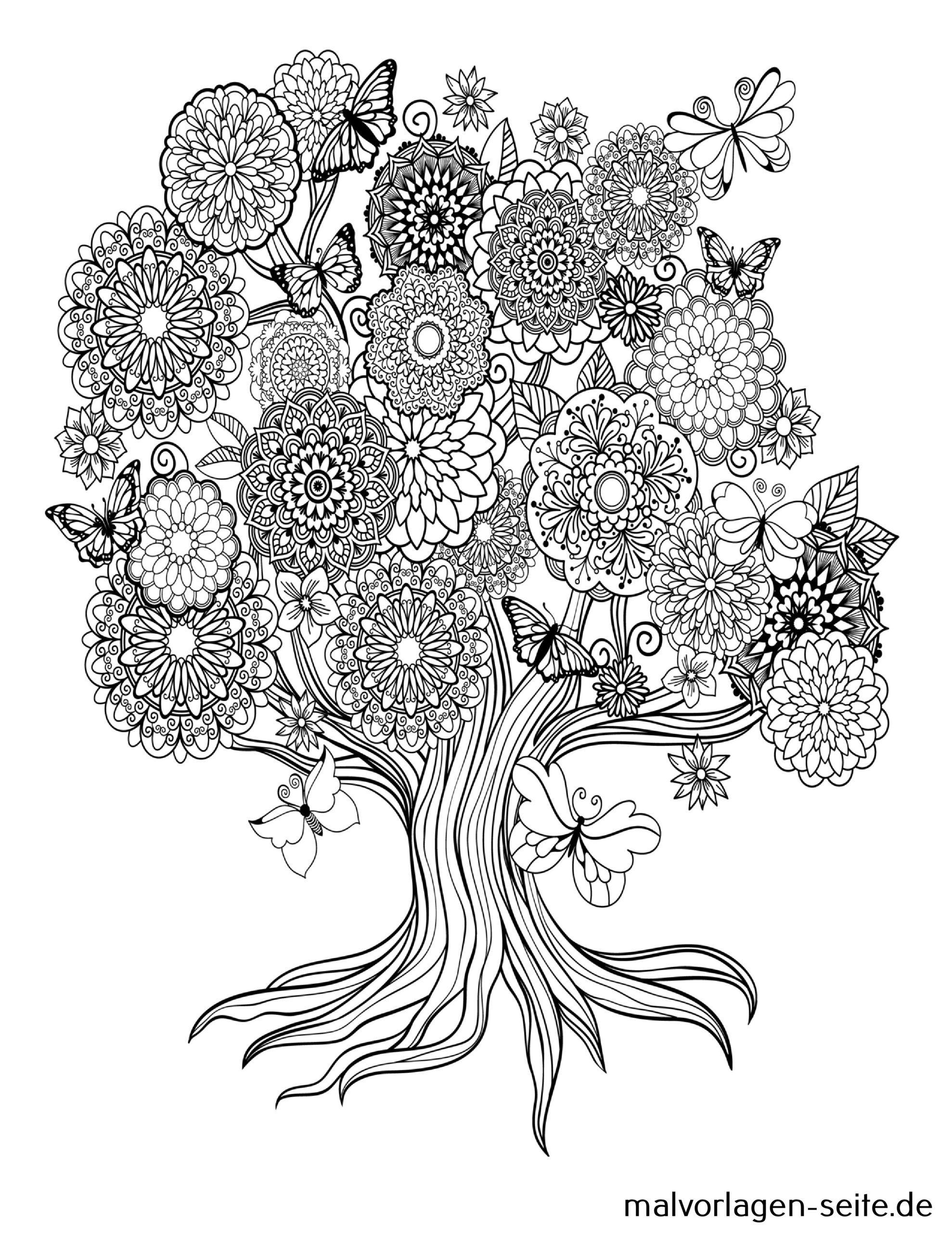 Tolle Mandala Für Erwachsene - Baum Mit Blüten - Kostenlose