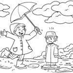 Disegno da colorare giocare sotto la pioggia