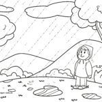 Disegno da colorare tempo di pioggia