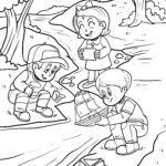 Dibujo para colorear nenos xogando