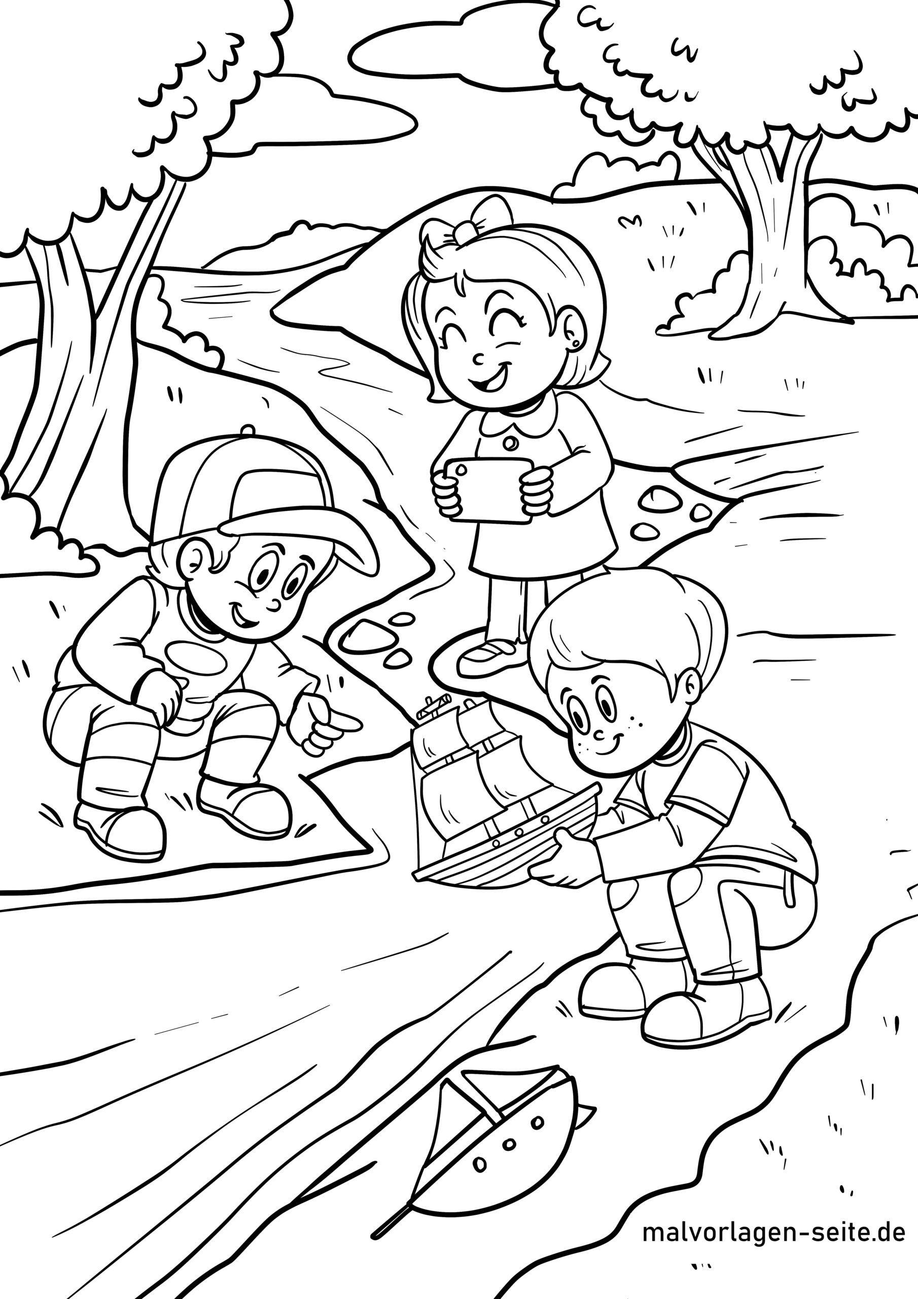 Boyama səhifəsi oynayan uşaqlar