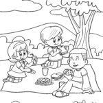 Páxina para colorear picnic infantil