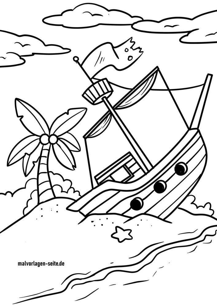 Раскраска кораблекрушение / затонувший корабль