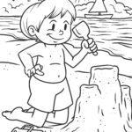 Страница за оцветяване изграждане на летен замък от пясък
