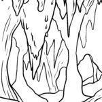 Dibujo para colorear cova / cova de estalactita - viaxe
