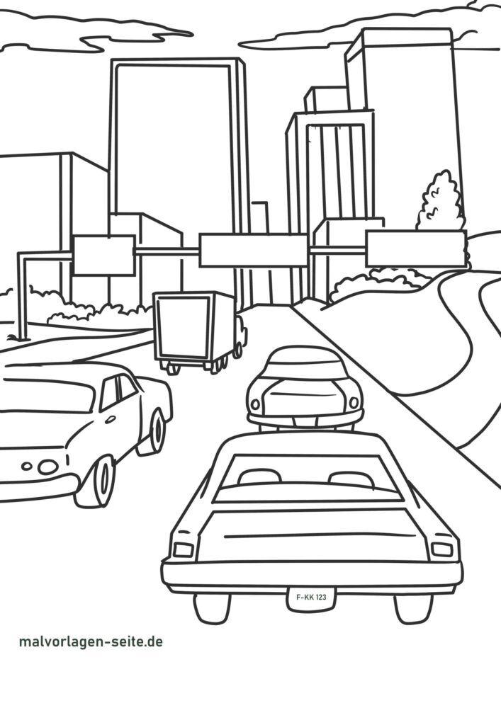 Disegno da colorare grande traffico cittadino