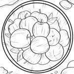 Malvorlage Äpfel im Eimer