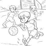 Páxina para colorear xogando ao fútbol
