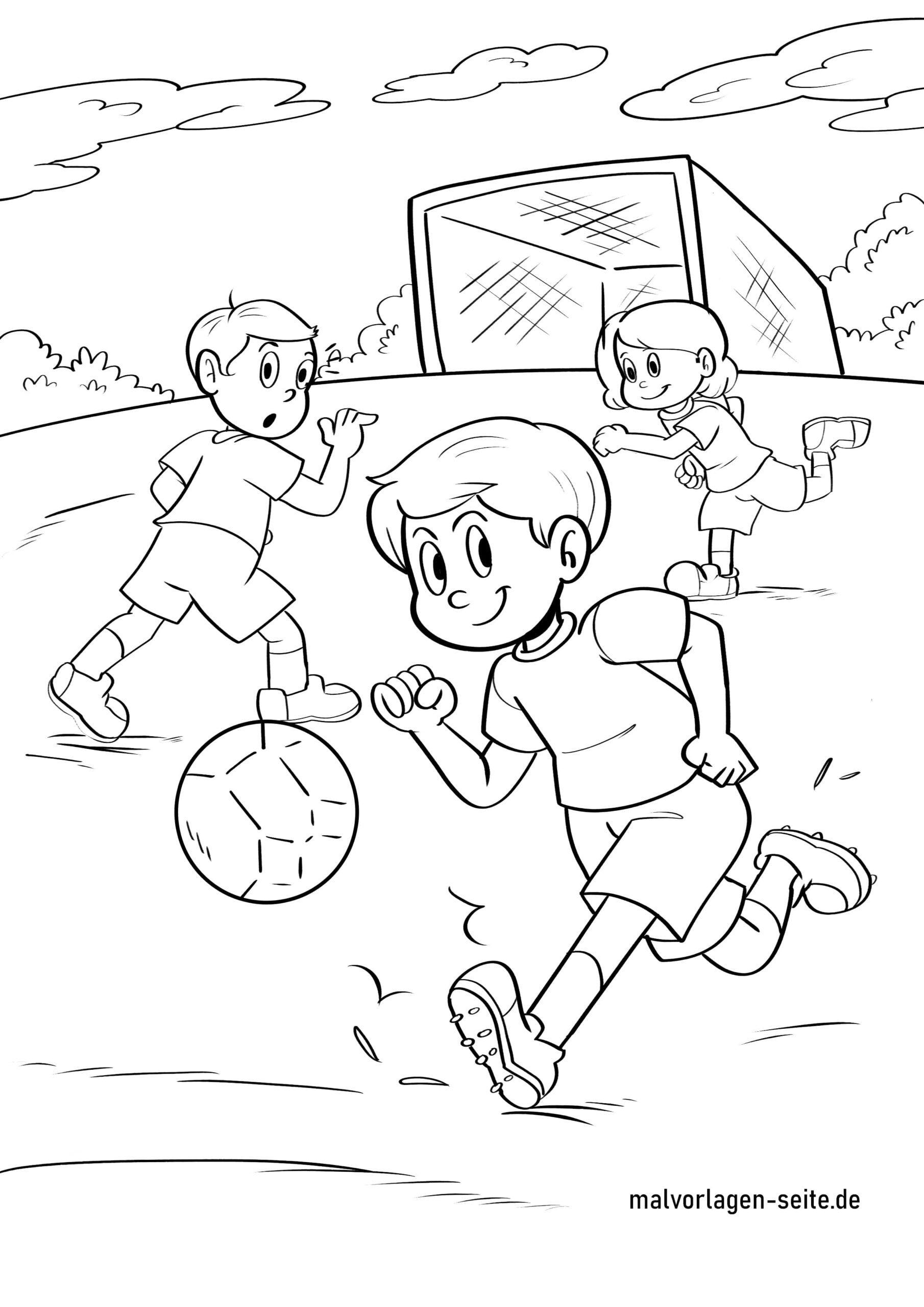 Pagina da colorare che gioca a calcio