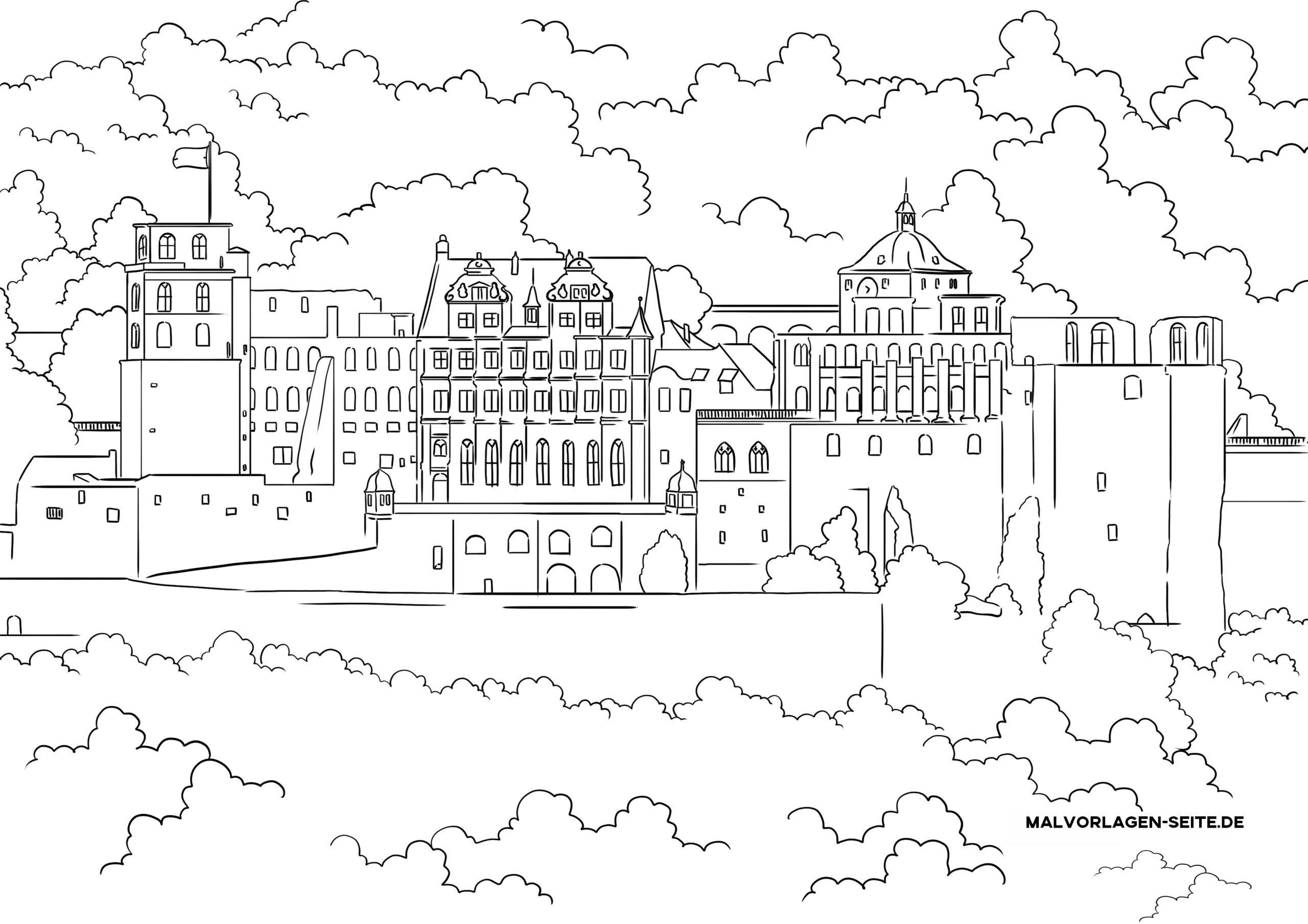 Tolle Malvorlage Schloss Heidelberg Sehenswürdigkeiten