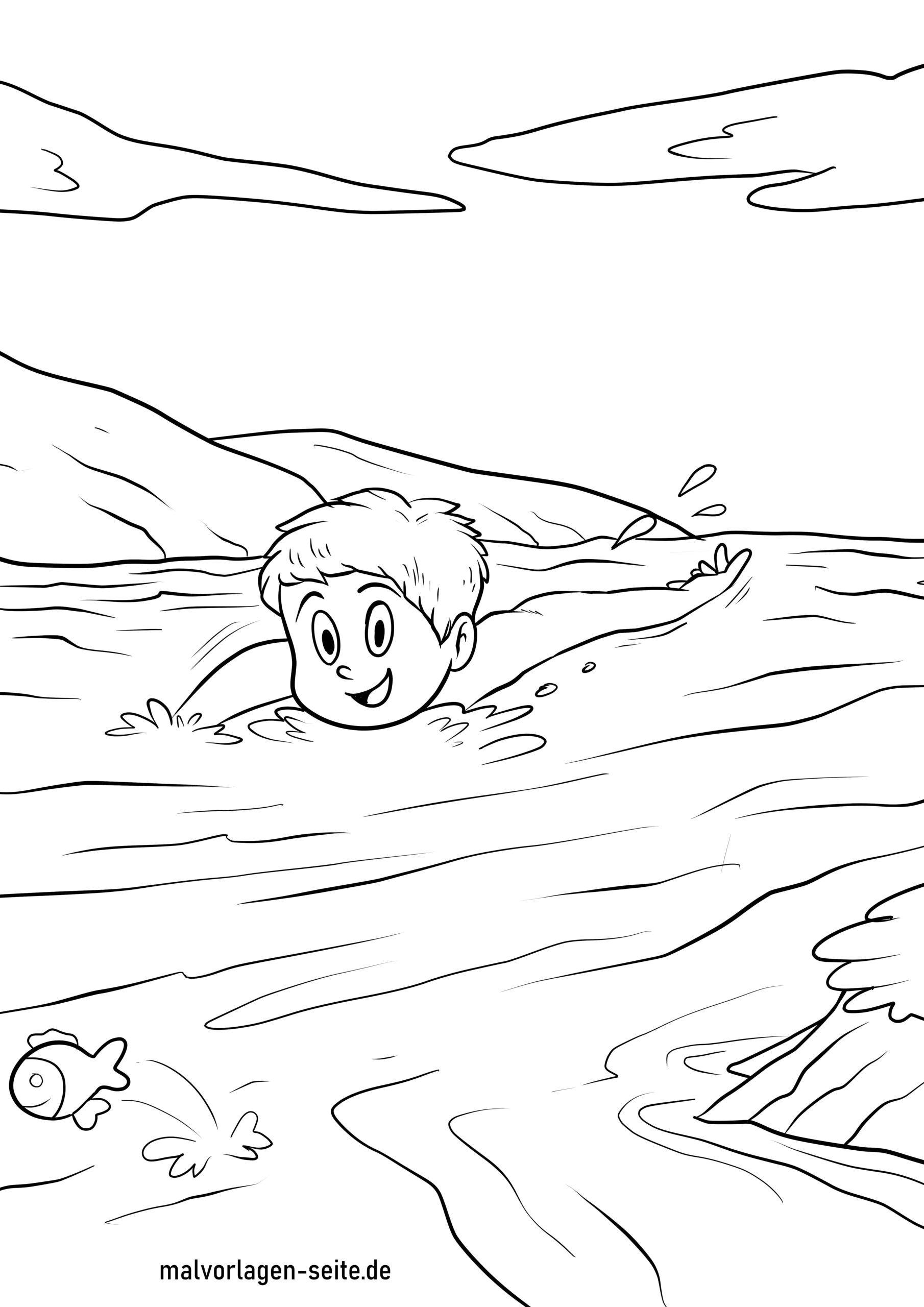 Dibujo para colorear nadando