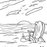 Գունազարդման էջի տախտակամած աթոռը լողափում - արձակուրդ