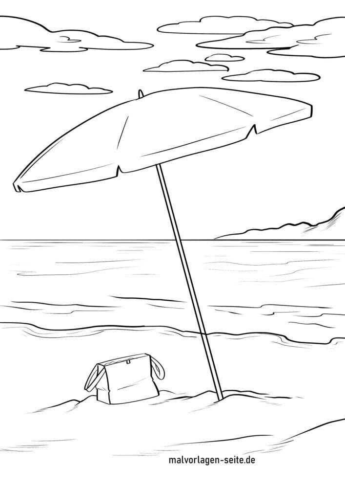 Boyama səhifəsi dəniz kənarında çimərlik çətiri