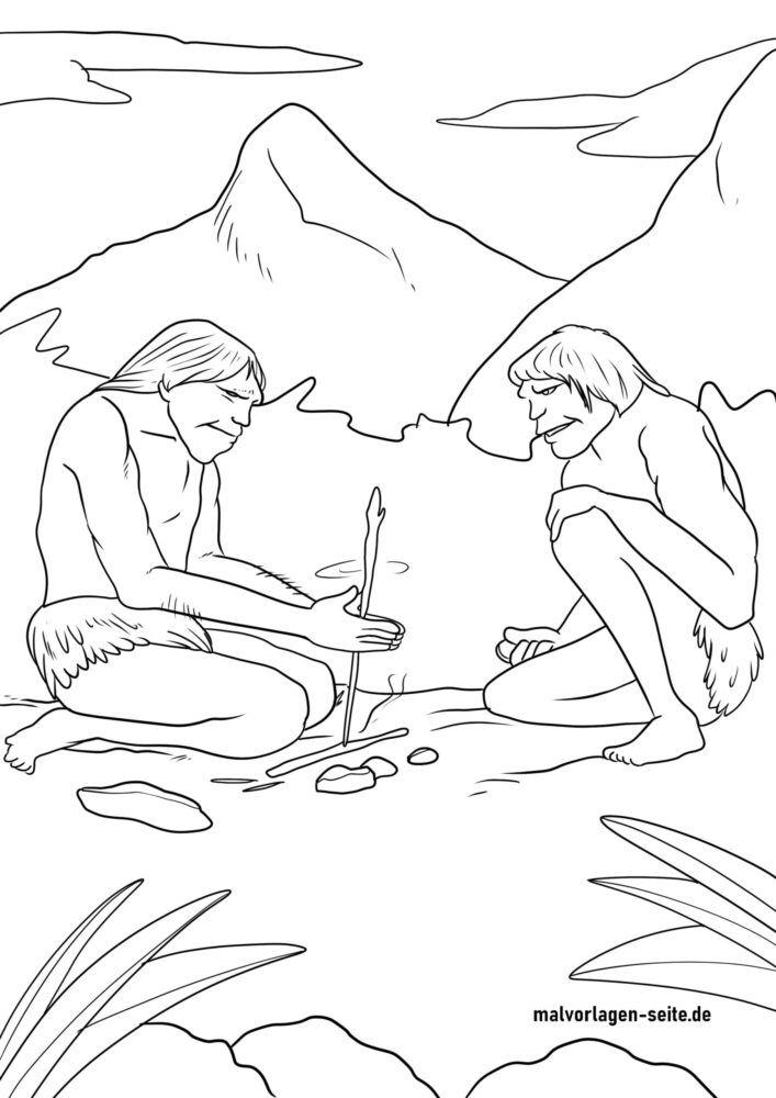 Страница за оцветяване хора от каменна ера / неандерталци