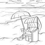 Malvorlage Strandkorb am Strand