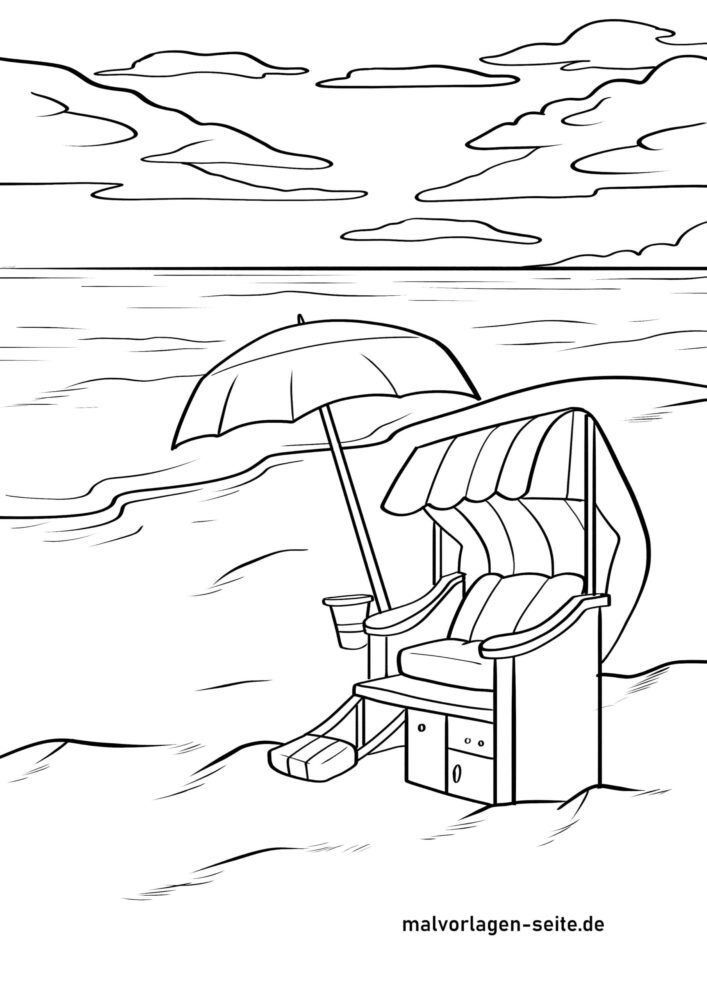 Dibujo para colorear cadeira de praia na praia