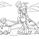 Размалёўка Паход на Дзень бацькі - сям'я