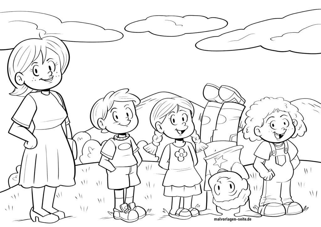 Benvido ao xardín de infancia - colorea xuntos
