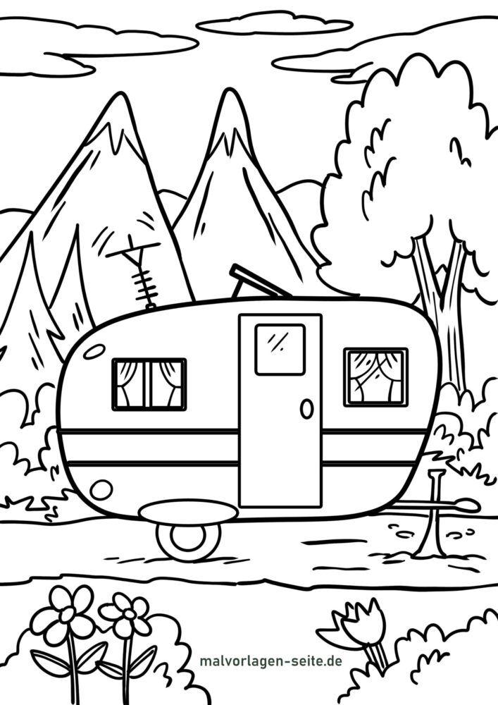Planșă de colorat vacanță camping camping