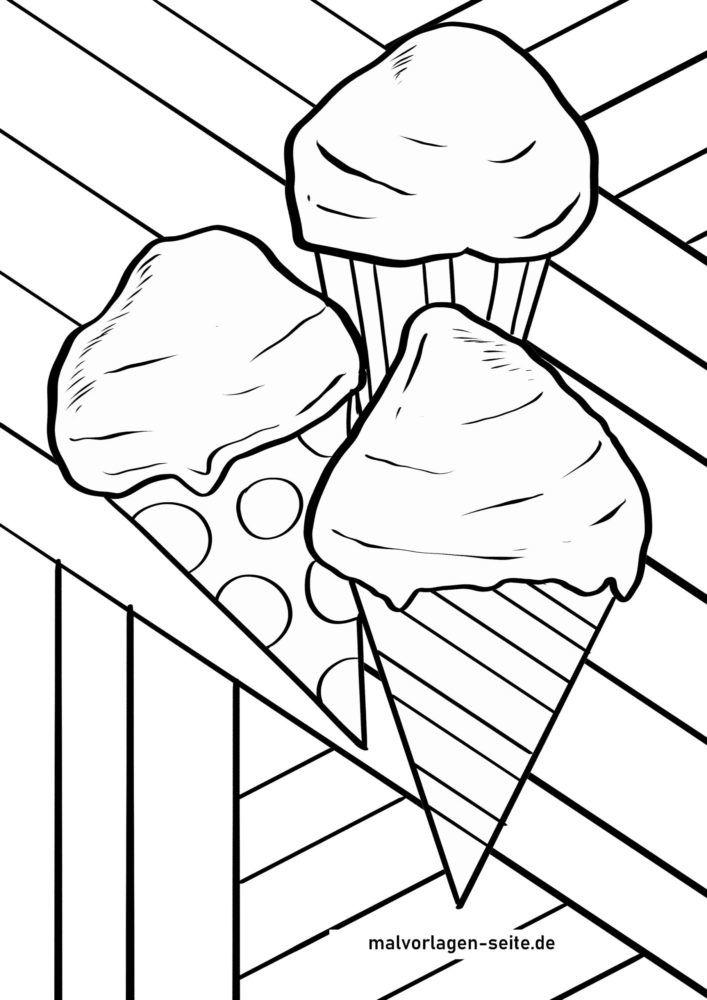 Páxinas para colorear xeados en gofres