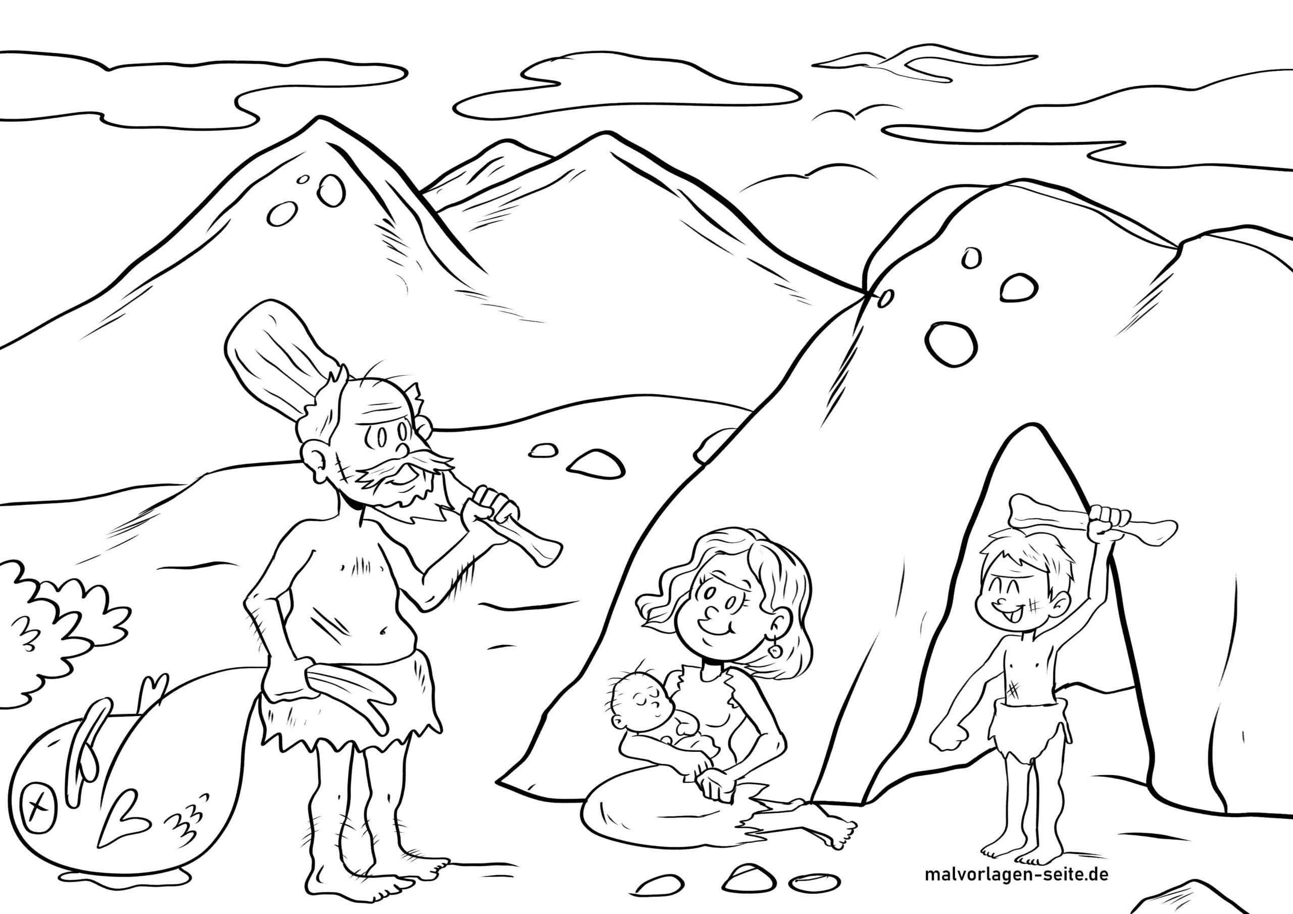 Páx para colorear familia da idade da pedra