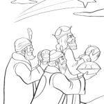 Раскраска три короля - рождество