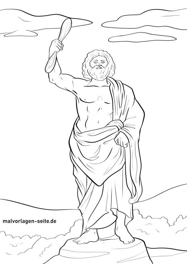 Өнгөт хуудас Зевс - Грекийн бурхад