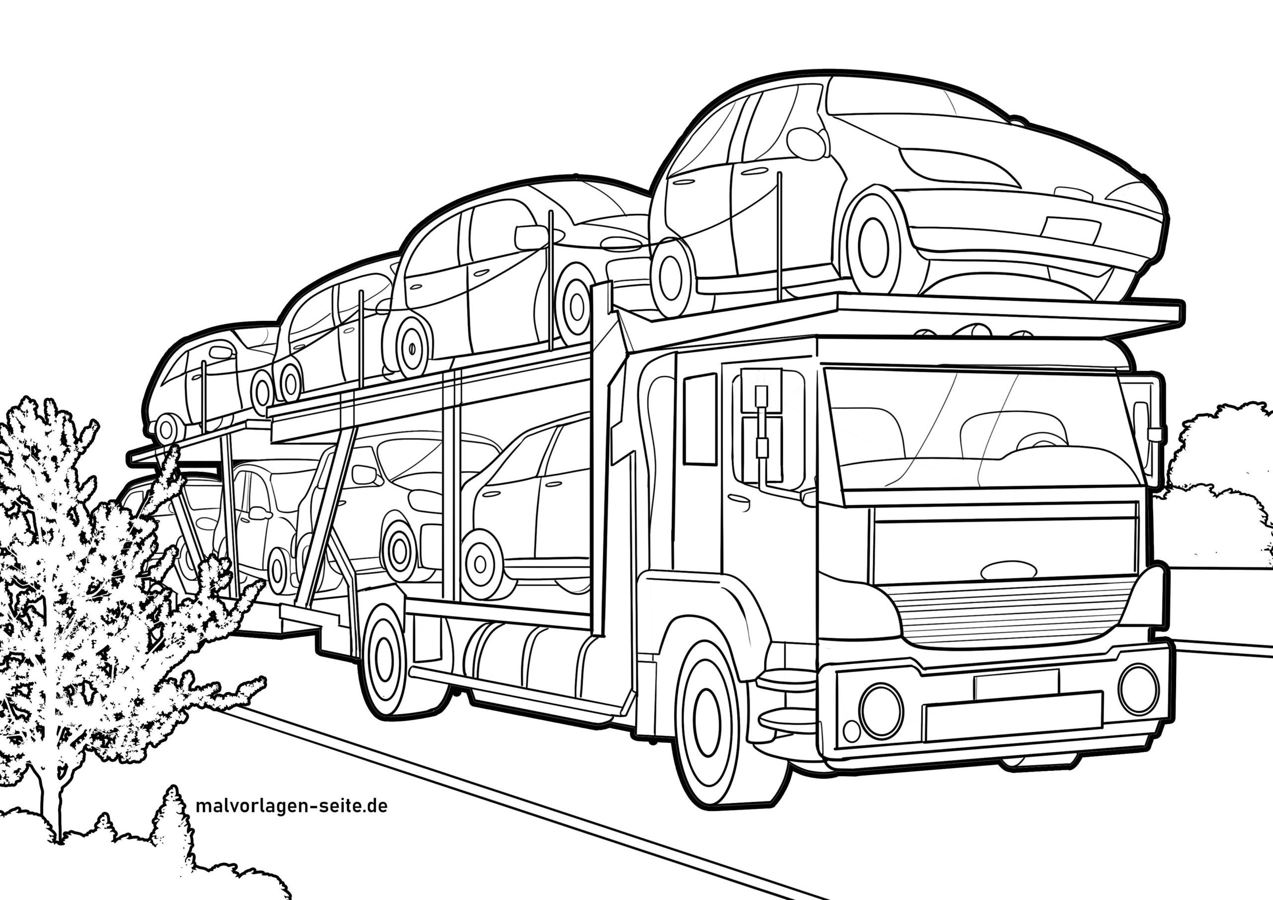 Dibujo para colorear transportador de coches
