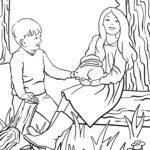 Planșă de colorat copii care mângâie un iepure