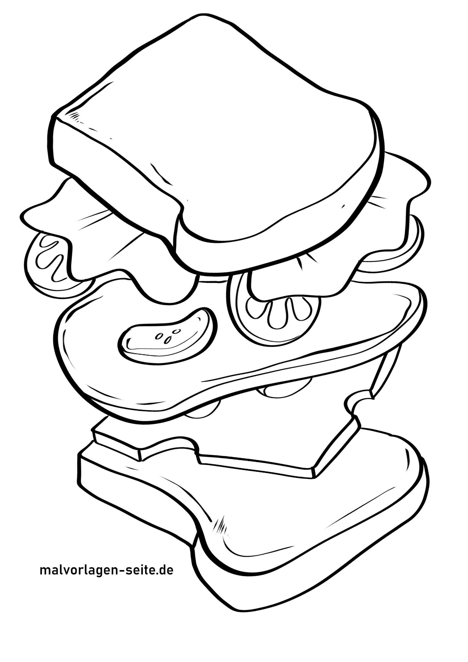 Раскраска бутерброд