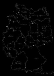 Kaart fan Dútslân foar in transparante eftergrûn