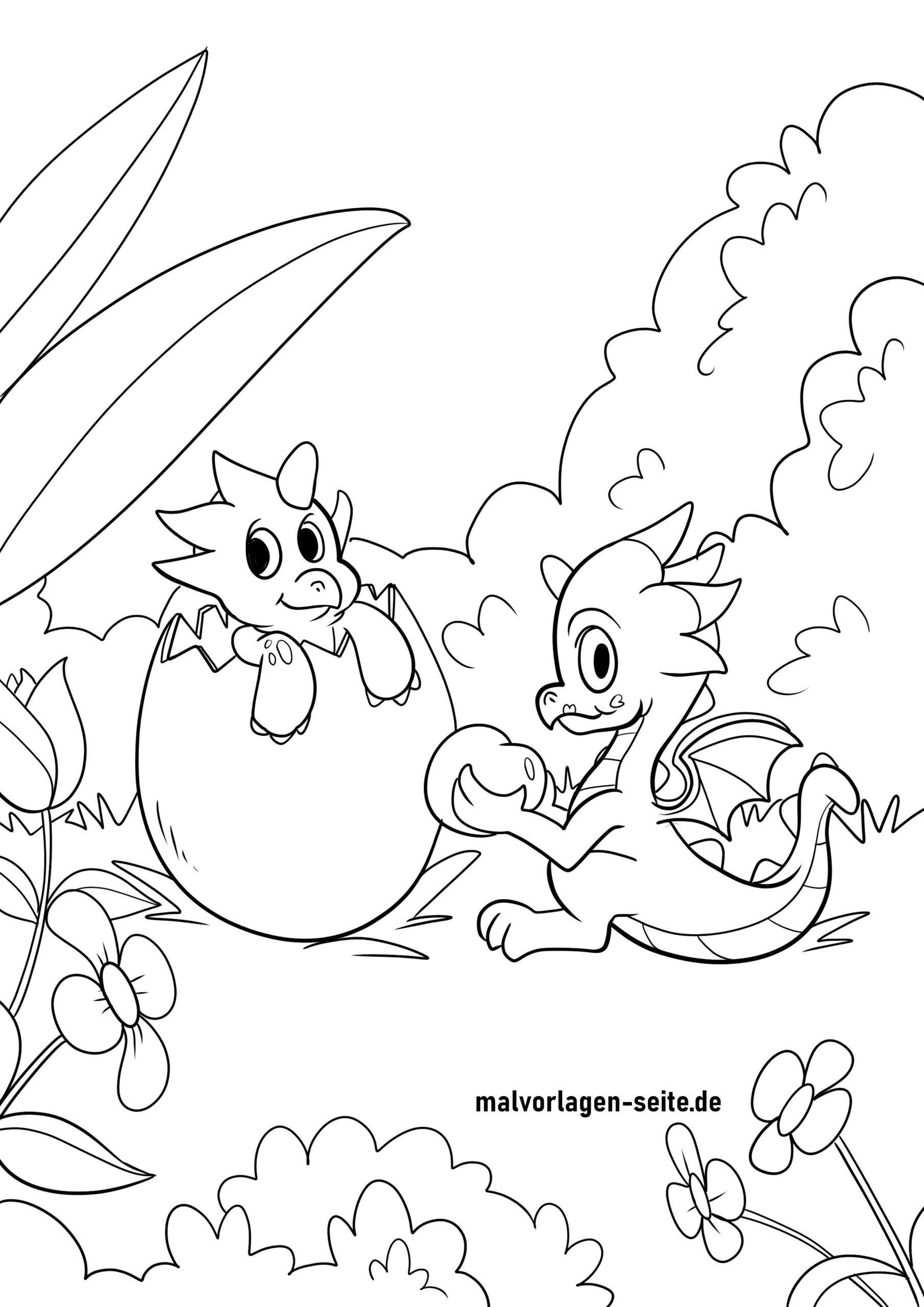 Раскраска драконьи младенцы и драконье яйцо