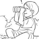 صفحه رنگ آمیزی کودک با دوربین دو چشمی