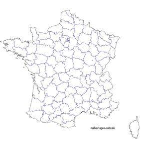 Landkarte Frankreich - Kostenlose Ausmalbilder