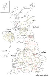 Politische Landkarte Großbritannien