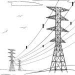 Malvorlage Überlandleitung - Energieversorgung