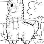 Pagină de colorat alpaca unicorn