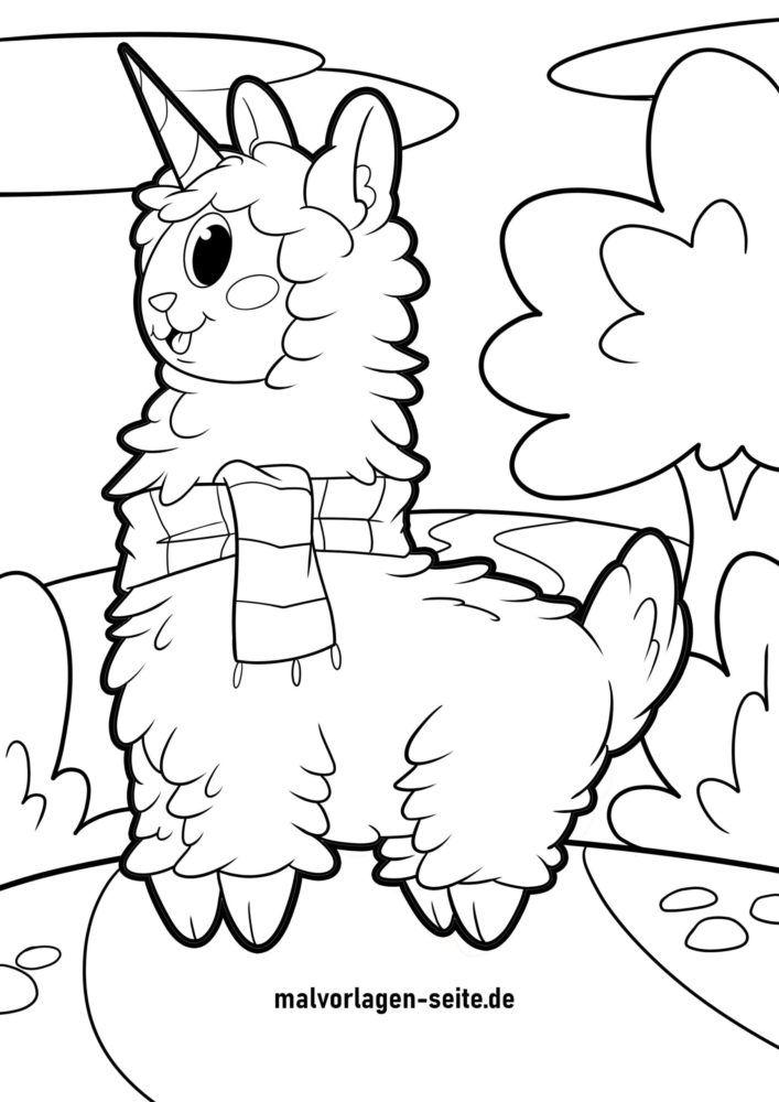 Páxina para colorear alpaca de unicornio